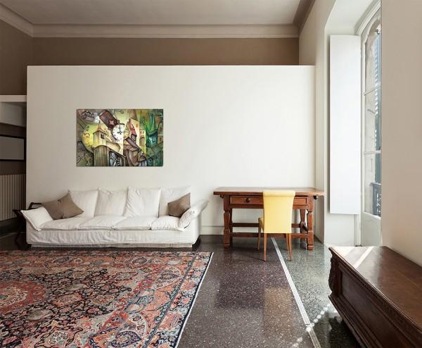 120x80cm Häuser Uhr Menschen abstrakt