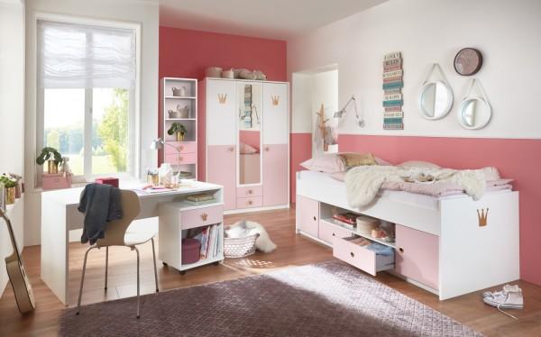 Jugendzimmer Cindy 5 Teile mit 3 türigem Kleiderschrank von Wimex Prinzessinnen Zimmer mit Spiegelschrank, Funktionsbett, Schreibtisch, Rollcontainer und Regal