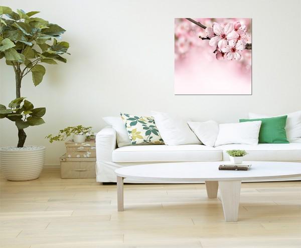 80x80cm Blüte Blume Frühling rosa