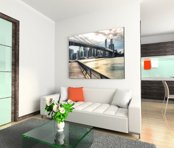 120x80cm Wandbild New York City Wolkenkratzer Brücke Wolken