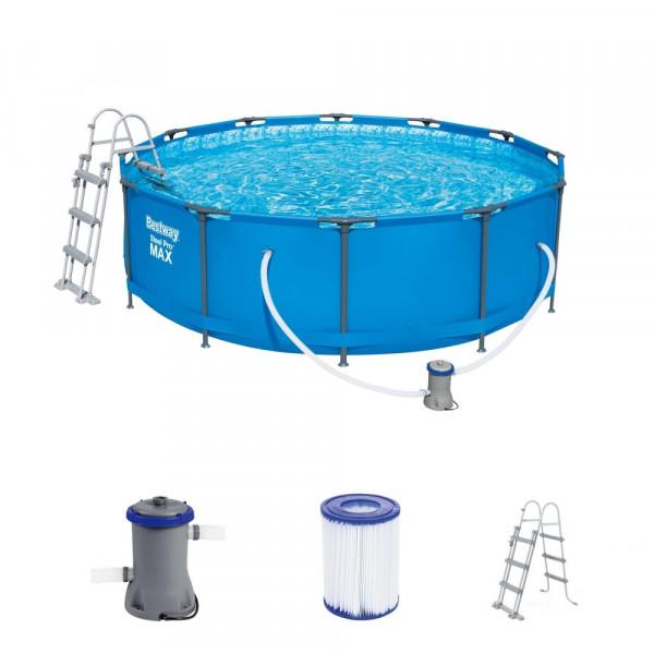 Bestway 56418 Steel Pro Max™ Frame Pool Komplett-Set Ø 366 x 100 cm mit Filterpumpe und Sicherheitsl