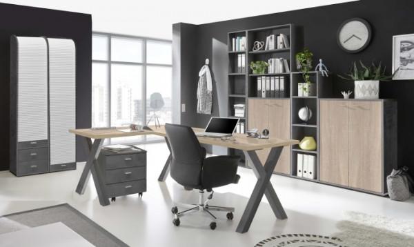 Büromöbel Mister Office in Graphit und Eiche Sägerau 8 teiliges Megaset mit Eckschreibtisch und Roll