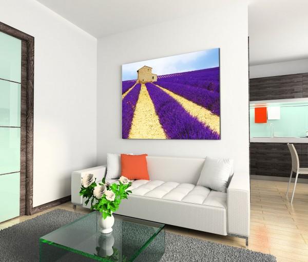 120x80cm Wandbild Lavendelfeld Wege Steinhaus