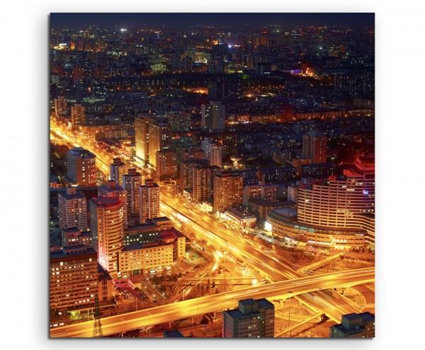Naturfotografie – Verkehrskreuzung bei Nacht in Peking, China auf Leinwand
