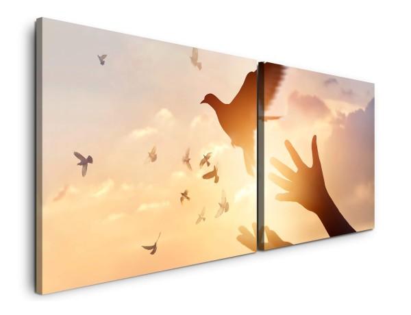 Frau und Vögel Wandbild in verschiedenen Größen