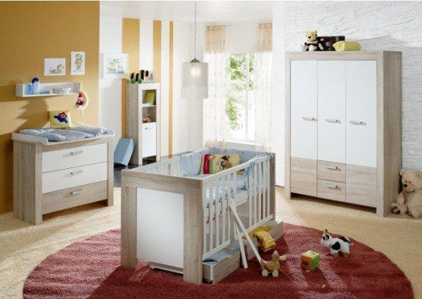 Babyzimmer Ben 3-teilig Eiche Sägerau-Weiß