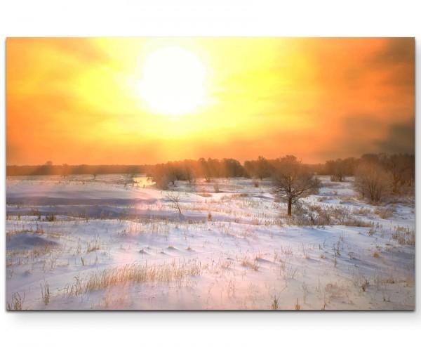 Schneebedeckte Felder - Leinwandbild