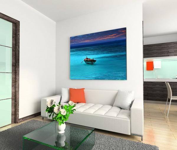 120x80cm Wandbild Meer Holzboot Wolken Abendrot