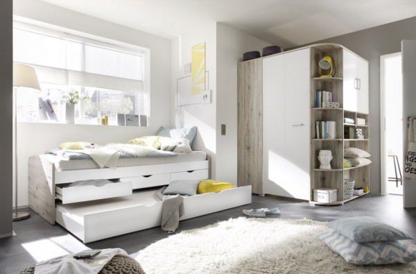 Jugendzimmer Nessi in Sandeiche und Weiß 2 teilig mit begehbarem Eckschrank und Funktionsbett mit zw