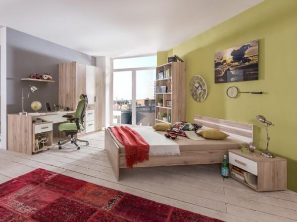 Jugendzimmer Cariba in Eiche San Remo und Weiß 7 teiliges Superset mit Kleiderschrank, Bett und Nach