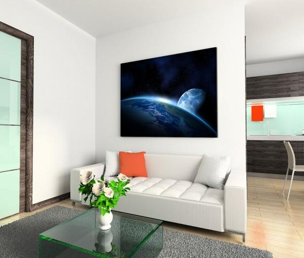 120x80cm Wandbild Planeten Erde Sonne Mond Weltraum