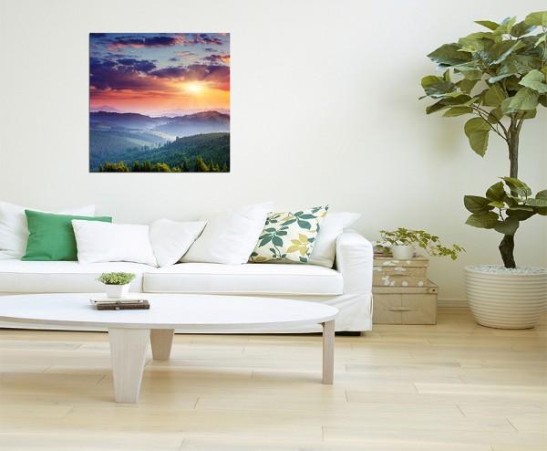 80x80cm - WANDBILD Landschaft Berge Wiese Abendsonne '