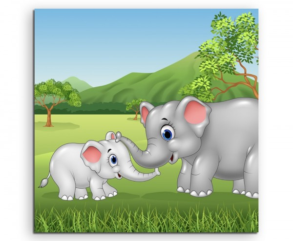 Cartoon Zeichnung – Elefantenmutter mit Elefantenbaby auf Leinwand