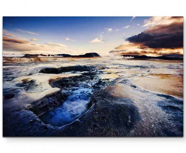 Geothermale Landschaft bei Sonnenuntergang – Island - Leinwandbild
