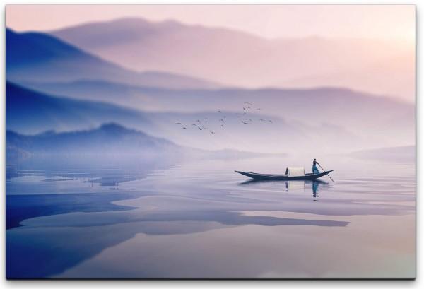 Landschaft mit Ruderboot Wandbild in verschiedenen Größen