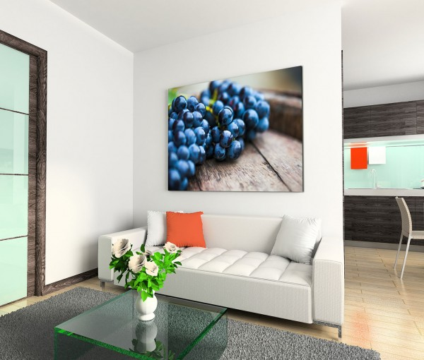 120x80cm Wandbild Weintrauben Früchte Holzschale Nahaufnahme