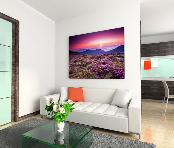 120x80cm Wandbild Ukraine Blumenwiese Berge Sonnenuntergang