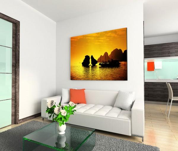 120x80cm Wandbild Vietnam Halong Bay Felsen Segelboot Abendlicht