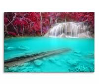 120x80cm Wandbild Thailand Erawan Wasserfall Lagune Wald Natur