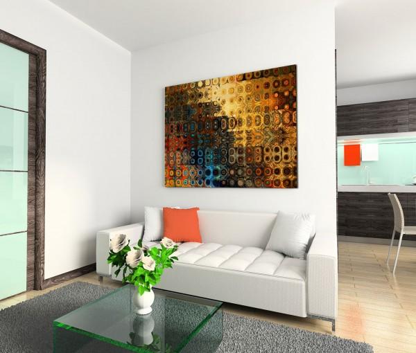 120x80cm Wandbild Hintergrund abstrakt blau rot braun gelb