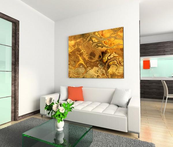 120x80cm Wandbild Kunst Hintergrund Wellen abstrakt gelb orange braun