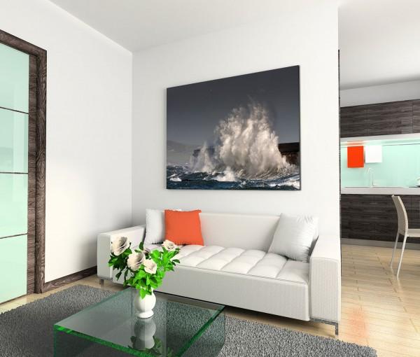 120x80cm Wandbild Meer Welle Gischt