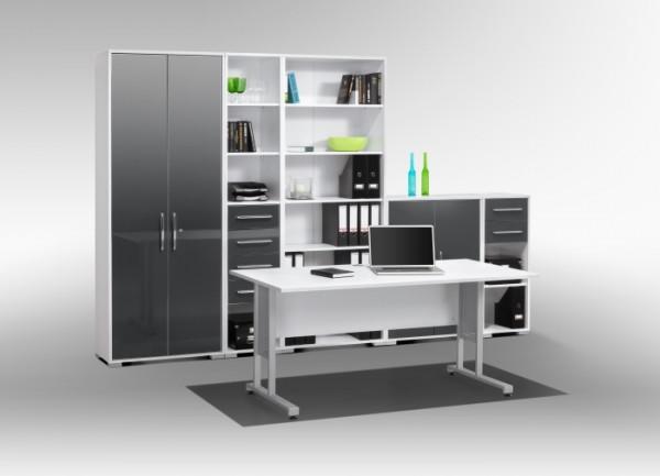 Büromöbel Office System Weiß Grau Hochglanz 6 teilig von Maja Möbel +++ von möbel-direkt+++ schnell und günstig