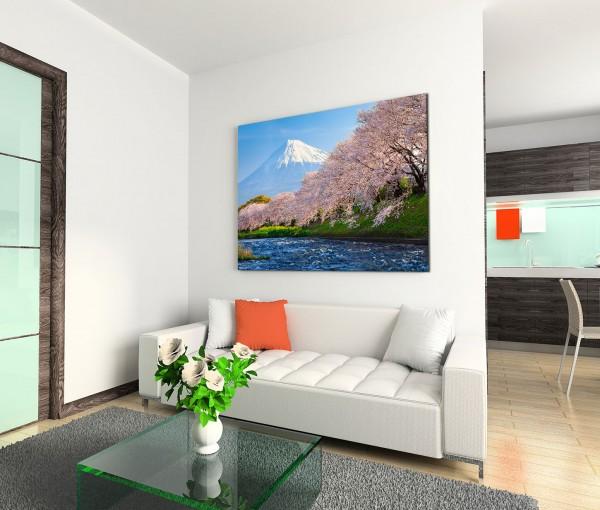 120x80cm Wandbild Berg Fuji Fluss Kirschbäume Morgenlicht