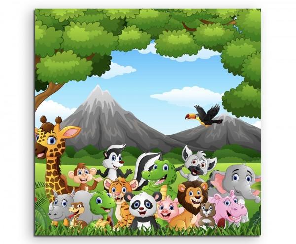 Cartoon Zeichnung – Wilde Tiere im Dschungel auf Leinwand exklusives Wandbild moderne Fotografie fü