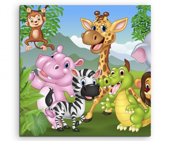 Cartoon Zeichnung – Lustige Tiere im Dschungel auf Leinwand exklusives Wandbild moderne Fotografie