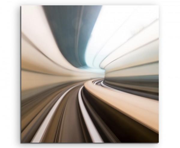 Künstlerische Fotografie – Autobahntunnel bei Geschwindigkeit auf Leinwand exklusives Wandbild moder