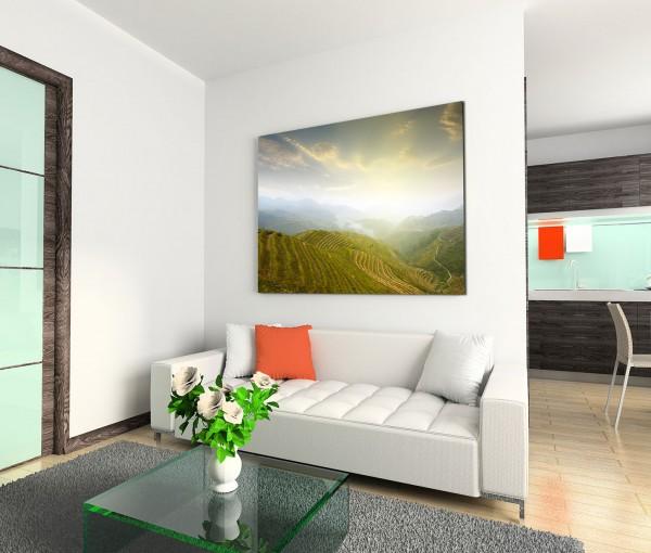 120x80cm Wandbild China Terrassen Landschaft Dunst