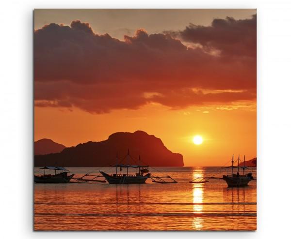 Landschaftsfotografie – Boote bei Sonnenaufgang, Palawan, Philippinen auf Leinwand