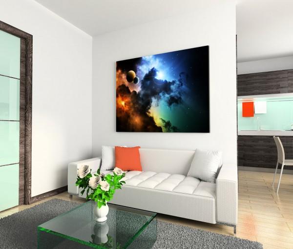 120x80cm Wandbild Weltraum Fantasie Galaxie Wolken