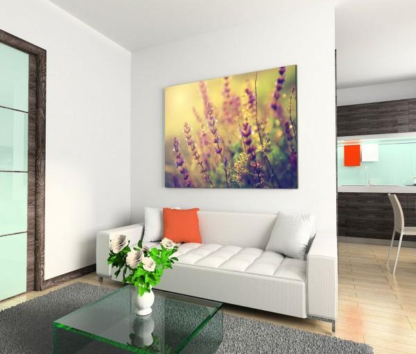 120x80cm Wandbild Wildblumen Wiese Sonnenuntergang vintage