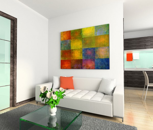 120x80cm Wandbild Geometrie Quadrate gelb blau rot grün braun