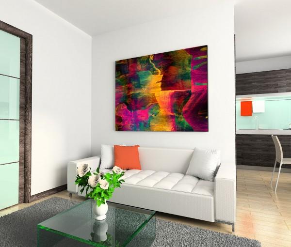 120x80cm Wandbild Malerei Hintergrund abstrakt gelb grün rot