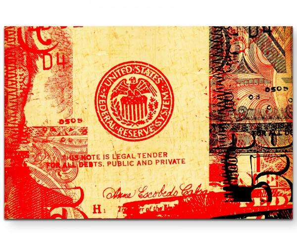 abstraktes Bild – US-Dollar mit roten Elementen - Leinwandbild
