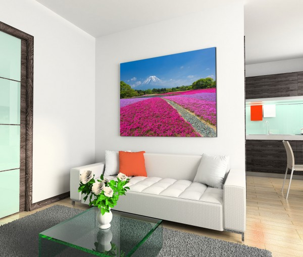 120x80cm Wandbild Vulkan Fuji Blumenwiesen Bäume