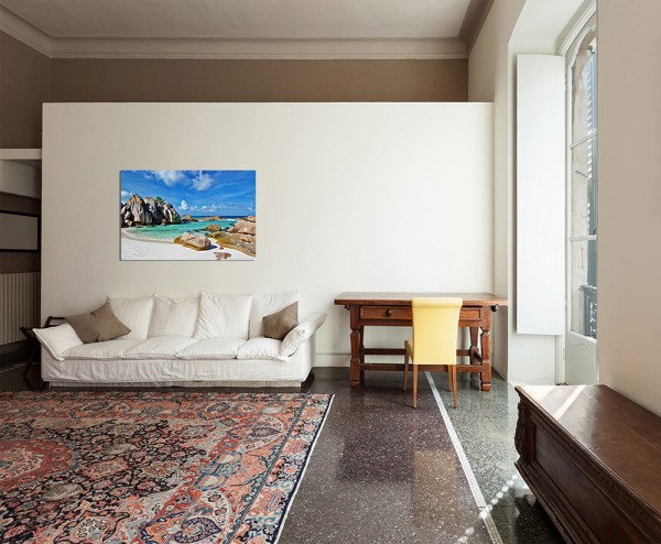 120x60cm Seychellen Granitfelsen Strand Meer