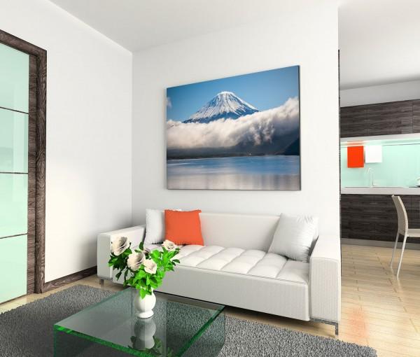 120x80cm Wandbild Fuji Berg See Schnee Wolken Winter