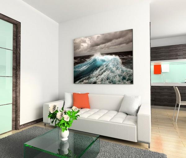 120x80cm Wandbild Ozean Meer Wellen Wolken