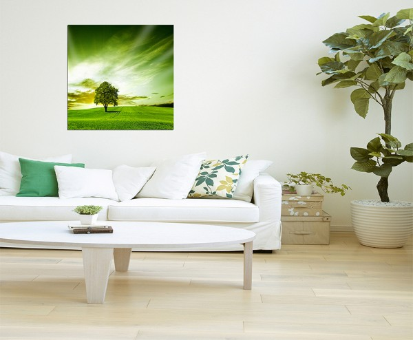 120x80cm Landschaft Wiese Baum Himmel grün