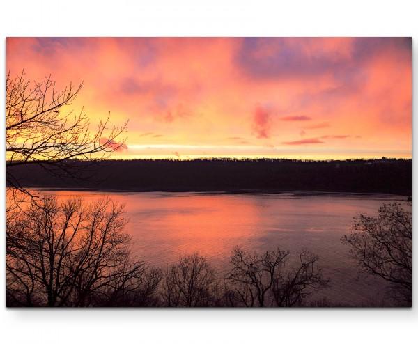 Herbstlicher Sonnenuntergang - Leinwandbild