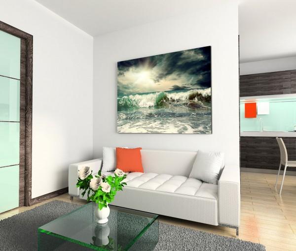 120x80cm Wandbild Meer Wellen Wolken Sonnenstrahlen