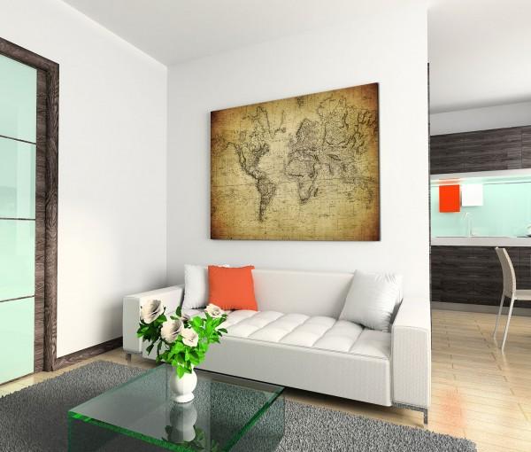 120x80cm Wandbild Vintage Weltkarte von 1814
