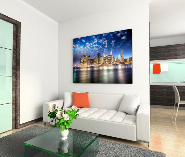 120x80cm Wandbild Manhattan Skyline Sonnenuntergang Wasser