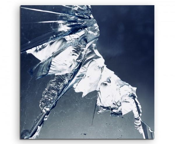 Künstlerische Fotografie – Zersplittertes Glas auf Leinwand exklusives Wandbild moderne Fotografie f