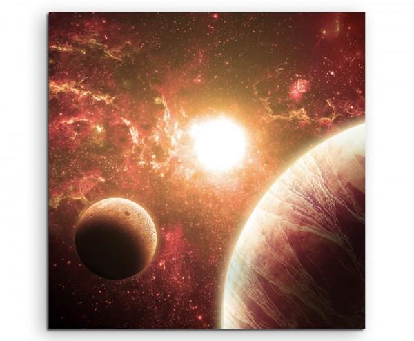 Illustration - Rote Planeten mit Mond auf Leinwand