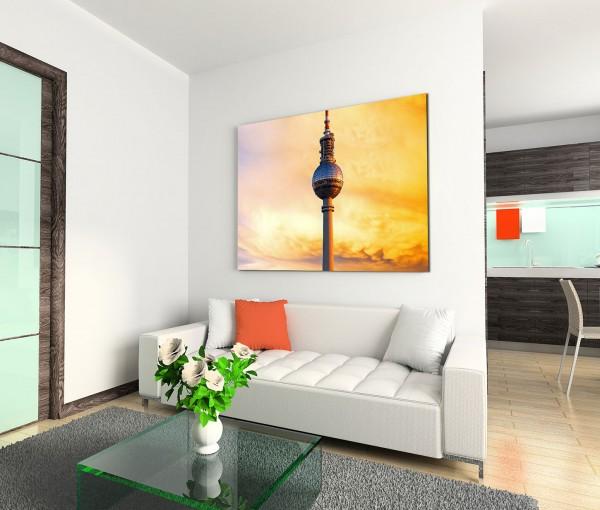 120x80cm Wandbild Berlin Fernsehturm Sonnenuntergang